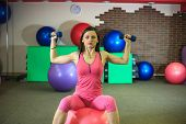 Young Beautiful White Girl In A Pink Sports Suit Does Physical Exercises With Dumbells And A Fit Bal poster