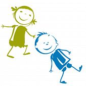 stock photo of animated cartoon  - kids playing - JPG