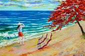 Women Tourist On Sea Beach. Colorful Oil Color Paintings Seascape On Canvas Colorful Of Beauty Beach poster