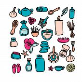 Spa Salon Supplies Hand Drawn Vector Illustrations Set. Doodle Aromatherapy, Stone Massage Cliparts. poster