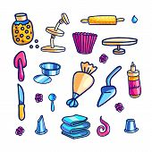 Cake Decorating Tools Hand Drawn Color Illustrations Set. Doodle Cupcake Baking And Icing Supplies.  poster