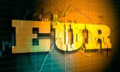 Forex Candlestick Pattern. Trading Chart Concept. Financial Market Chart. Euro Symbol. 3d Rendering poster