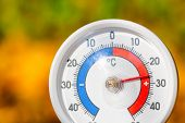 Outdoor thermometer  with celsius scale showing warm temperature - hot indian summer or global warmi poster