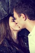 stock photo of teenagers  - Portrait happy young teenage couple outdoor - JPG