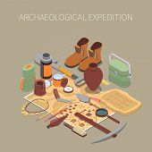 Archaeological Expedition  Concept With Ancient Remains And Artifacts Symbols Isometric Vector Illus poster