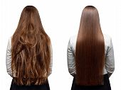 Sick, Cut And Healthy Hair Care Keratin. Before And After Treatment. poster