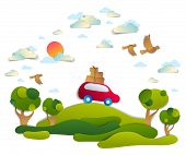 Car Travel And Tourism, Red Minivan With Luggage Riding Off Road In Green Meadows Among Trees, Birds poster