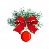 Christmas Wreath Isolated On White Background. Red Christmas Ball With Pine Branch And A Bow Of Gold poster