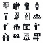 Political Meeting Icon Set. Simple Set Of Political Meeting Icons For Web Design On White Background poster