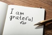Close-up Of Gratitude Word With Pen On Notebook Over Wooden Desk poster