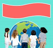 Young kids supporting environmental awareness poster