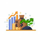 Investment, Development And Finance Growth Business Concept. Arrow Plant Coins And Financial Graph.  poster