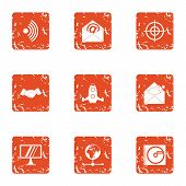 Vital Information Icons Set. Grunge Set Of 9 Vital Information Vector Icons For Web Isolated On Whit poster