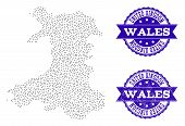 Dotted Black Map Of Wales And Blue Scratched Seal Stamp. Vector Map Of Wales Constructed With Irregu poster