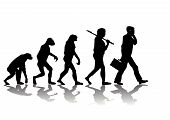 stock photo of darwin  - Abstract vector illustration of evolution of man - JPG