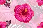 Tropical Pattern. Red Pink Magenta Exotic Summer Flower Vector Background. Beauty Fasion Monstera, P poster