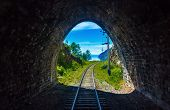 Light At The End Of The Tunnel On Circum-baikal Railway. Conceptual Background Representing Hope, Fa poster