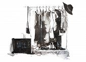 Clothes Store. Shop With New Collection Womens Clothing On Hanger. poster