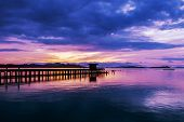 Long Exposure Image Of Dramatic Color Sky Seascape With Reflection In Sunset Or Sunrise Scenery Natu poster