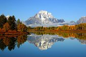 image of mountain-range  - Reflection of mountain range in a lake at Grand Teton National Park - JPG
