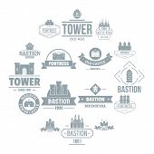 Towers Castles Logo Icons Set. Simple Illustration Of 16 Towers Castles Logo Icons For Web poster