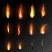 Candle Flame Vector Fired Flaming Candlelight And Flammable Fire Light Illustration Fiery Flamy Set  poster