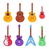 Flat Guitar Instrument. Ukulele, Acoustic Classical And Rock Electric Guitars. String Music Instrume poster
