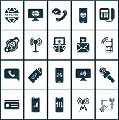 Communication Icons Set With Laptop Communication, Access Point, 4g Computer And Other Device Elemen poster