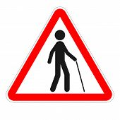 Blind Pedestrian With Walking Stick. Triangle Sign. Vector Icon. poster