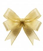 stock photo of ribbon bow  - Golden gift bow - JPG