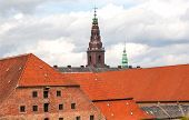 Old Towers Of Historical Copenhagen And Red Roofs Around, Denmark. Architecture Of Scandinavia. poster