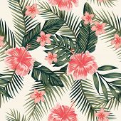 Beach Cheerful Wallpaper Hibiscus Plumeria Tropical Leaves Seamless Vector Pattern On A Light Yellow poster