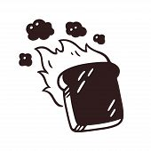 Burnt Slice Of Toast Drawing With Fire And Smoke. Hand Drawn Cartoon Vector Illustration. poster