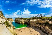 Magnificent little beach  in ocean fjord of Pacific ocean. The Great Ocean Road of Australia. The co poster