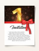 Wedding Invitation Card Template To The Day Of The First Anniversary With Abstract Text Vector Illus poster