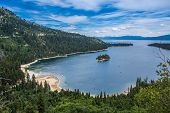 Emerald Bay View With Fannette Island In South Lake Tahoe California In The Sierra Nevada Mountains. poster