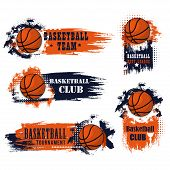 Basketball Club Icons For College League Championship Or University Players Tournament Match. Vector poster