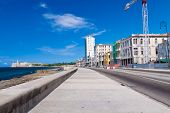 picture of malecon  - Urban view of Havana with colorful buildings along the Malecon - JPG