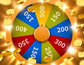 Wheel Of Fortune With Falling Coins. Gamble Chance Leisure. Colorful Gambling Wheel. Jackpot Prize C poster