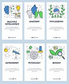 Vector Web Site Linear Art Onboarding Screens Template. School And Science Subjects, Anatomy, Phylos poster