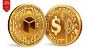 Neo. Dollar Coin. 3d Isometric Physical Coins. Digital Currency. Cryptocurrency. Golden Coins With N poster