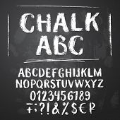 Rough Chalk Latin Alphabet On Textured Chalkboard Background. Uppercase Letters, Numbers, Sumbols, M poster