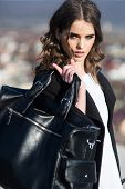 Beauty And Fashion Look. Fashion Woman With Stylish Makeup And Curly Hair. Autumn Fashion Of Busines poster