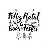 Merry Christmas And Happy Holidays In Portugues. Feliz Natal E Boas Festas. Lettering. Hand Drawn Ve poster