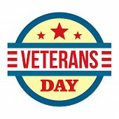 Round Veterans Day Logo. Flat Illustration Of Round Veterans Day Logo For Web Design poster