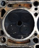Valve In A Deposit On The Removed Cover Of The Engine Valve Box. Engine Repair. Imprint Of The Threa poster