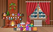 Christmas Interior Of Room With Window, Gifts And Decorated Fireplace. Happy New Year Decoration. Me poster