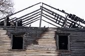 Remains Of The Burnt Wooden House Facade poster