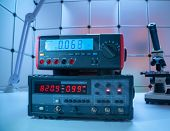 Electronic measuring instrument. Function generator and  Multimeter Instrument for measuring voltage poster