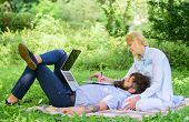 Business Partner Concept. Balance Freelance And Family Life. Man And Girl Work Laptop. Build Busines poster
